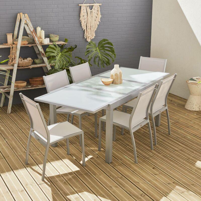 Salon de jardin table extensible - Orlando Gris clair - Table en aluminium  150/210cm et 6 chaises en textilène