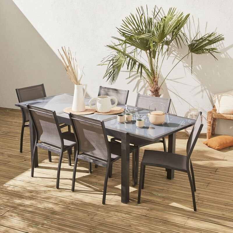 Salon de jardin table extensible - Orlando Gris foncé - Table en aluminium  150/210cm et 6 chaises en textilène