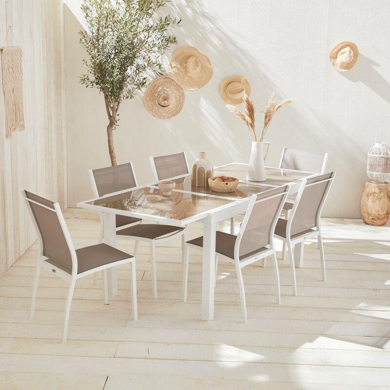 Salon de jardin table extensible - Orlando Taupe - Table en aluminium  150/210cm et 6 chaises en textilène