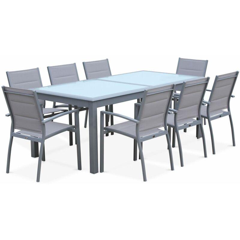 Salon de jardin table extensible - Philadelphie Gris clair - Table en  aluminium 200/300cm, 8 fauteuils en textilène