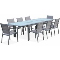 jardin Gris aluminium 200300cm8 en textilène clair table extensible Philadelphie Table de en fauteuils Salon nm0wvN8