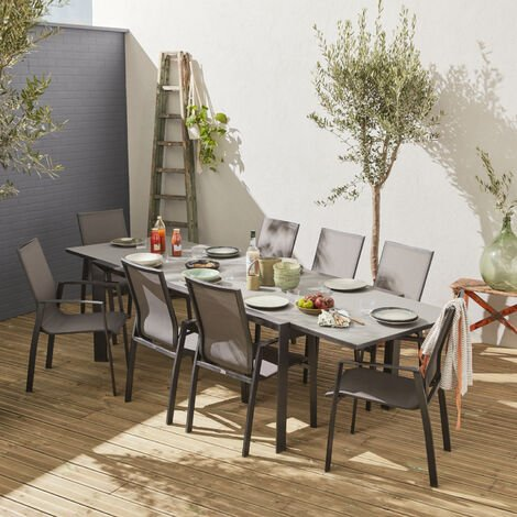 Salon de jardin table extensible - Washington Gris foncé - Table en aluminium 200/300cm, 8 fauteuils en textilène