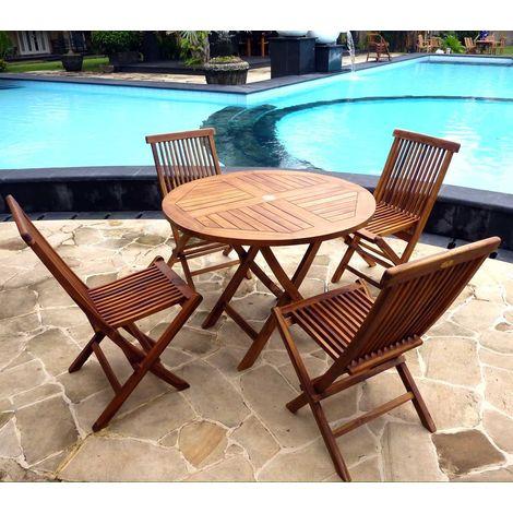 Salon de jardin table ronde 100 cm 4 chaises peignes - 60