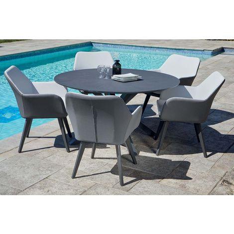 Salon de jardin table ronde + 5 fauteuils Provence - 6528-8A + 2528