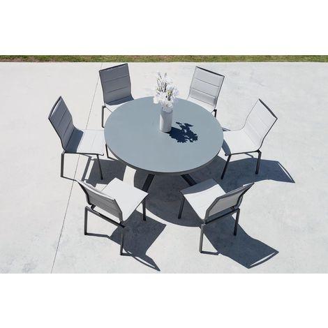 Salon de jardin table ronde + 6 chaises Provence - 6528+6531