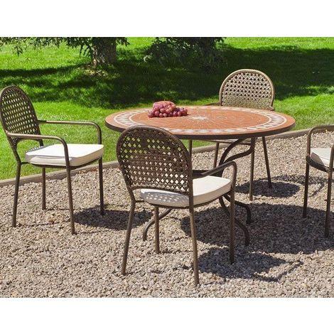 Salon de jardin table ronde et fauteuils 4 places - 15631