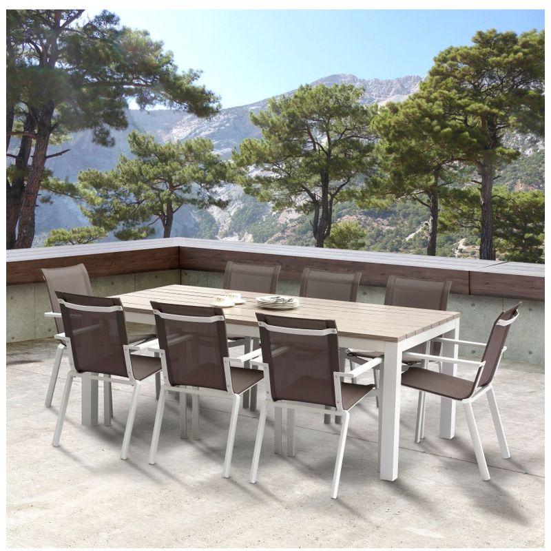 Wilsa Garden Salon de jardin Tampa 8 places Alu blanc Table vendue seule