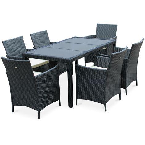 Salon de jardin Tavola 6 noir en résine tressée, table d ...
