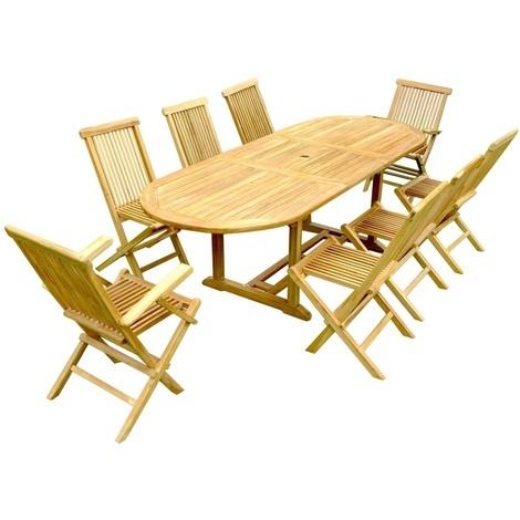 Salon de jardin teck 8 places 8 chaises