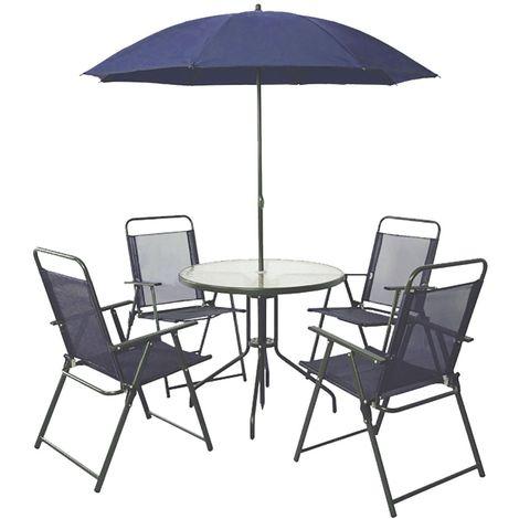 Salon de jardin Texas - 4 places - Bleu foncé - 650088