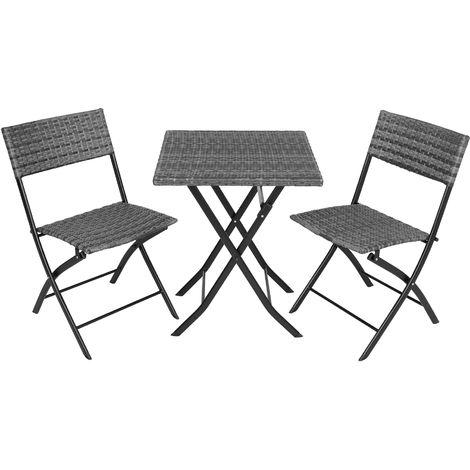 Salon de jardin TREVI Résine tressée 2 Personnes, 2 Chaises et 1 Table pliantes Gris