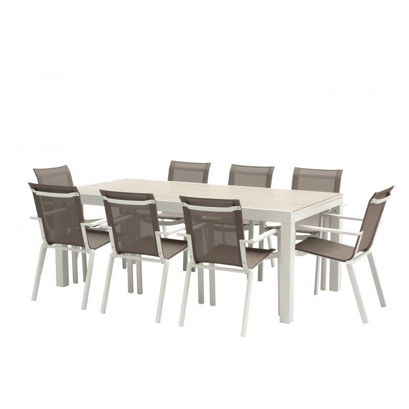 Salon de jardin Tulum Alu blanc 200/320 Table + 8 fauteuils - Wilsa Garden
