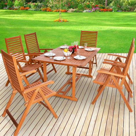 Salon de jardin UNIKKO en Eucalyptus - Tables et chaises en bois ...