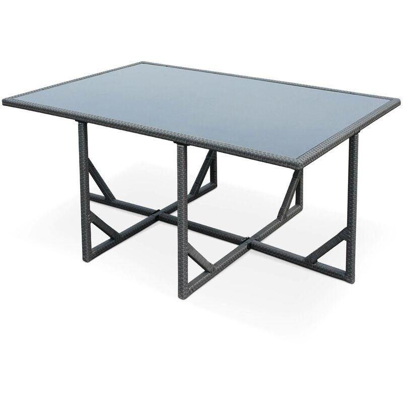Salon de jardin Vasto Gris table en résine tressée 6 à 10 places, fauteuils  encastrables