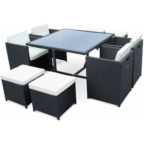 Salon de jardin Vasto Noir table en résine tressée 4 à 8 ...