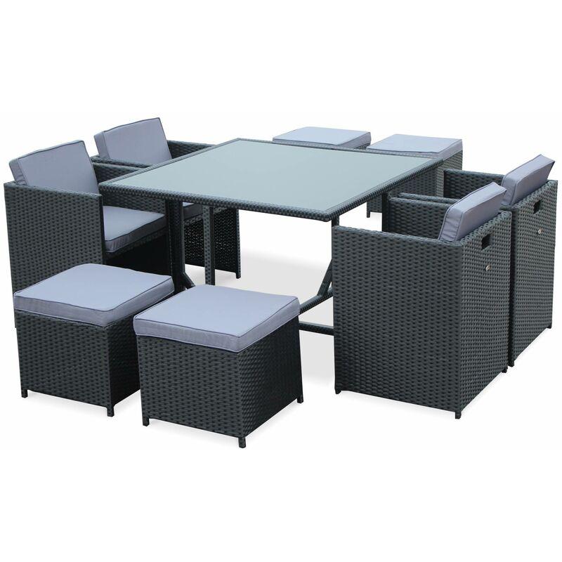 Salon de jardin Vasto Noir table en résine tressée 4 à 8 places ...