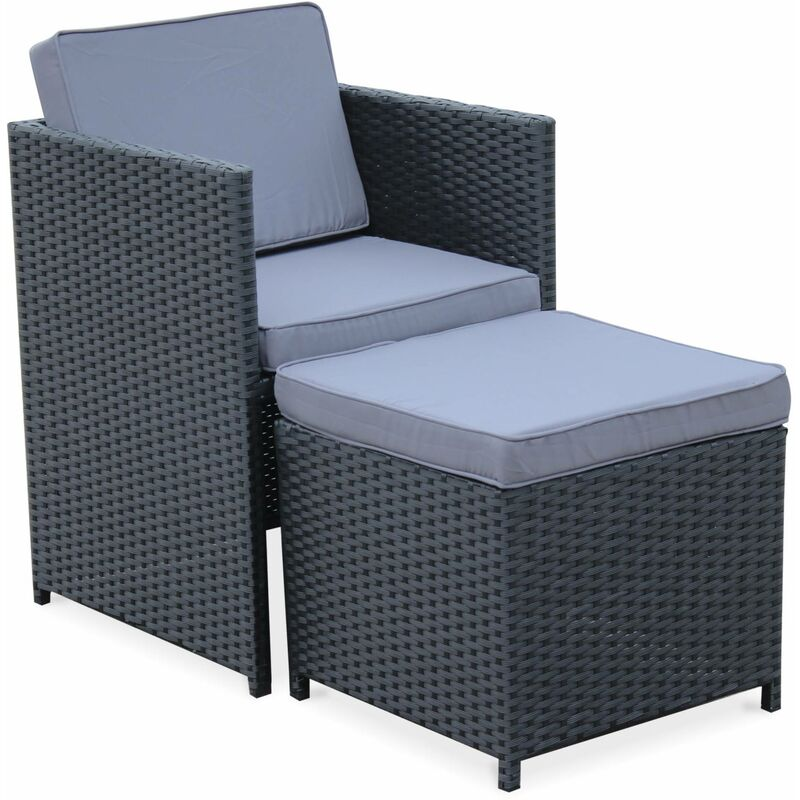 Salon de jardin Vasto Noir table en résine tressée 4 à 8 places, fauteuils  encastrables, coussins gris