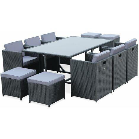 Salon de jardin Vasto Noir table en résine tressée 6 à 10 places, fauteuils encastrables