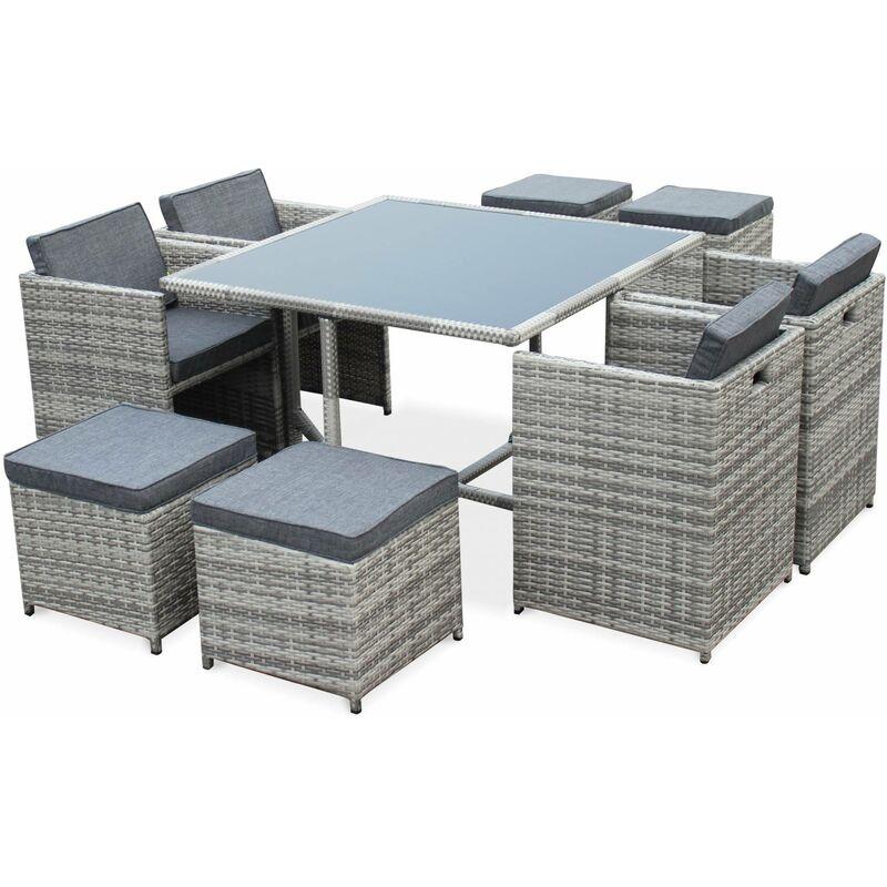 Salon de jardin Vasto Nuances de Gris table en résine tressée 4 à 8 places,  fauteuils encastrables