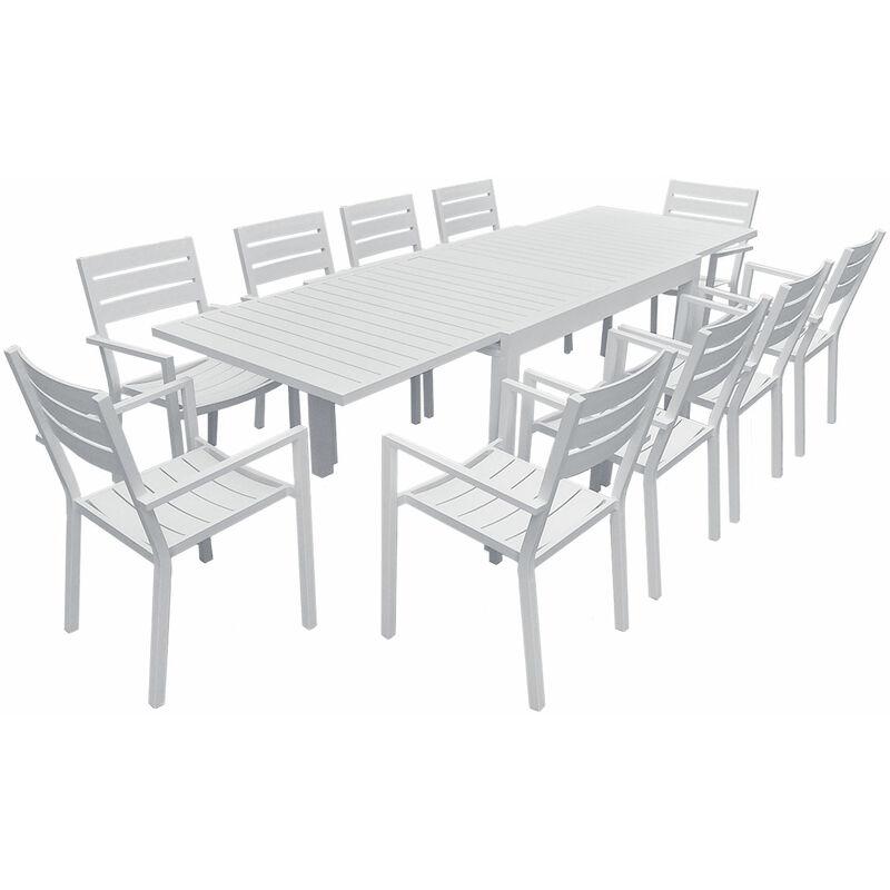Salon de jardin VENEZIA extensible 132/264 en aluminium blanc - 10 places - Blanc