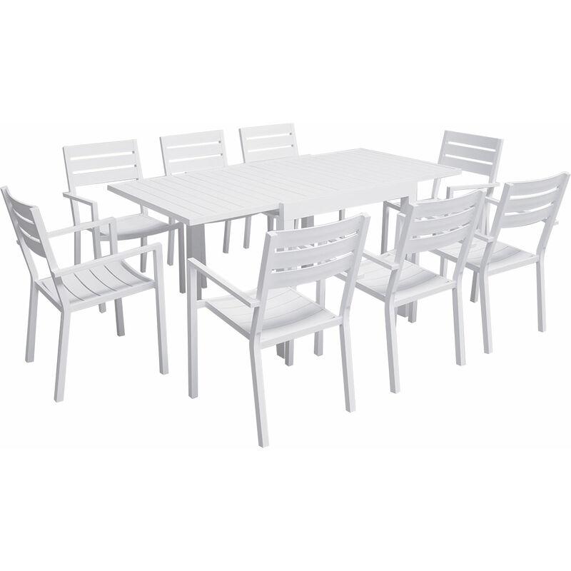 Salon de jardin VENEZIA extensible 90/180 en aluminium blanc - 8 places - Blanc