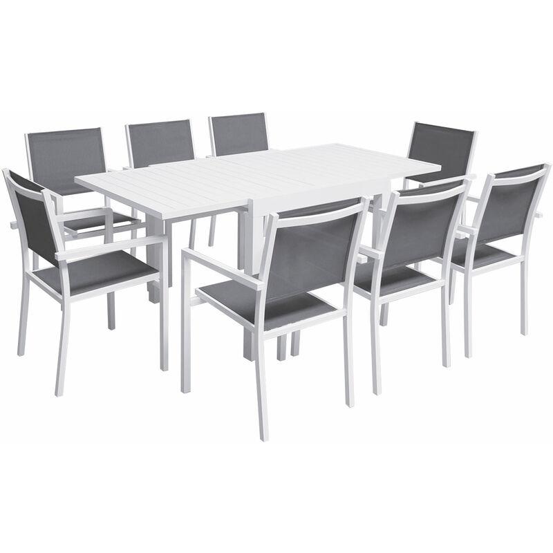 Salon de jardin VENEZIA extensible 90/180 en textilène gris 8 places - aluminium blanc - Blanc