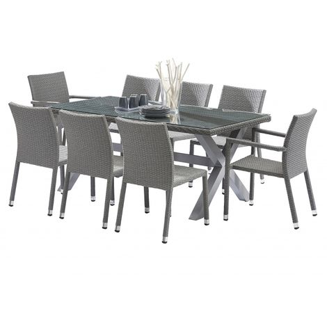 Salon de jardin Wicker gris plateau verre Table + 6 chaises + 2 ...