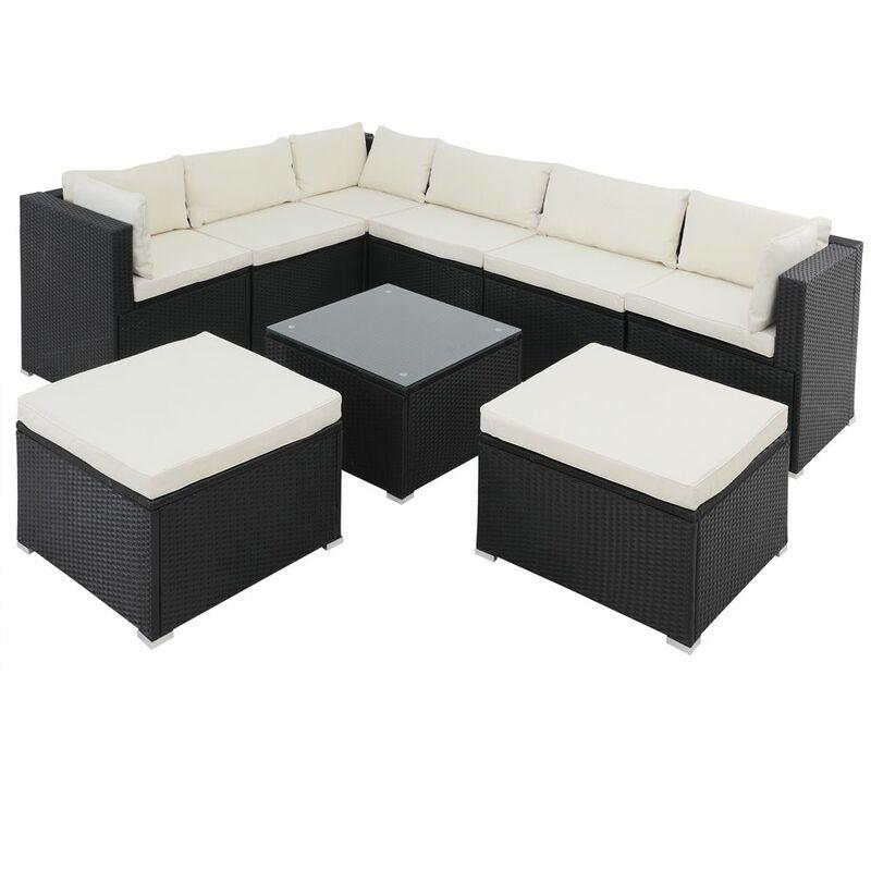Salon de jardin XL 26 pièces lounge ensemble de jardin coussins salon au choix Noir/crème