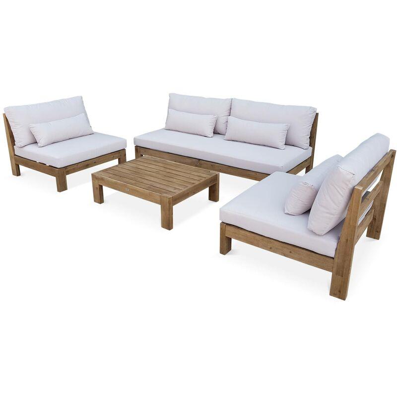 Audacieux Salon de jardin XXL en bois brossé, effet blanchi – BAHIA BD-92