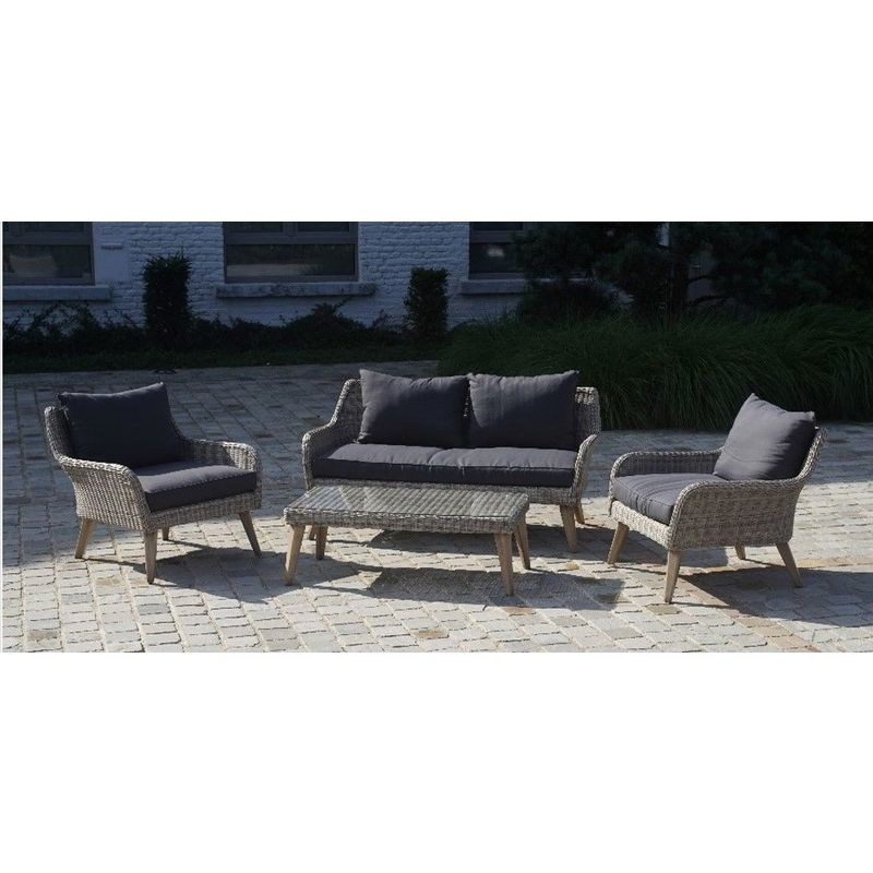Salon détente complet Grimaud comprenant 1 canape 2 places et 2 fauteuils, avec coussins épais.