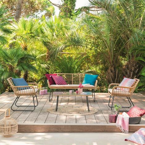 Salon détente extérieur Lambada 4 places Hespéride - Naturel clair