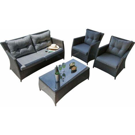 Salon détente résine tressée 2 fauteuils + 1 canapé + 1 table Ice