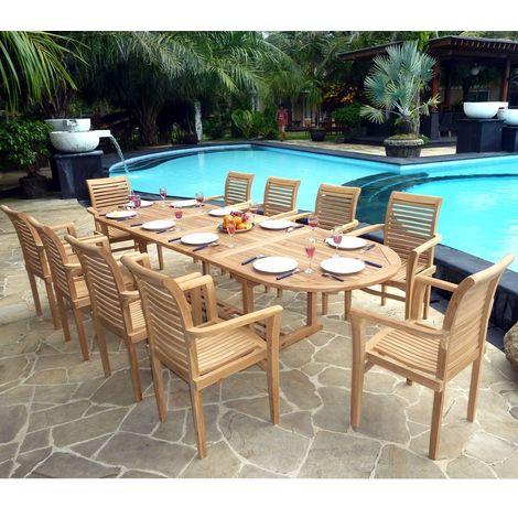 salon en teck brut pour votre jardin 10 fauteuils empilables ...