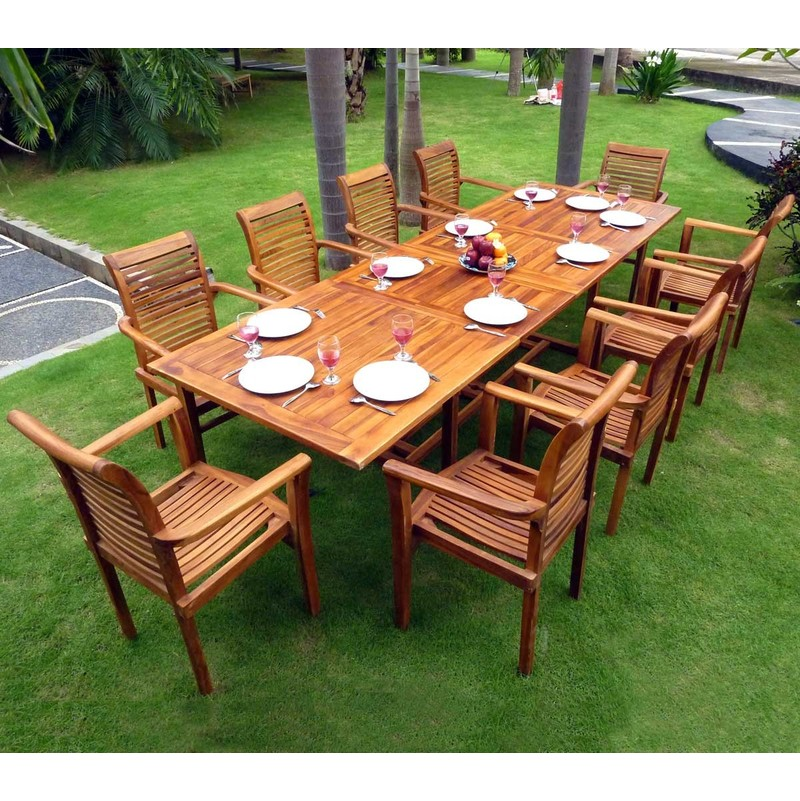 Salon en teck pour le jardin - table grande taille 200-300cm - 10 fauteuils