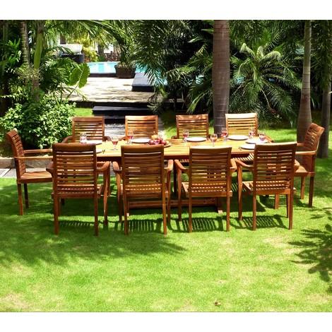 Salon en teck pour le jardin - table grande taille 200-300cm - 10 ...