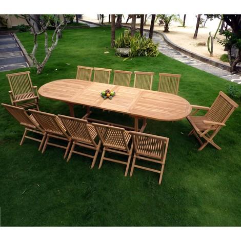 salon en teck pour le jardin, table grande taille 3 mètres - 40