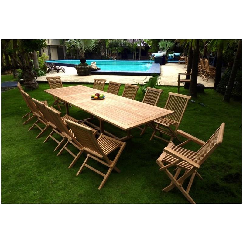 salon en teck pour le jardin, table rectangle grande taille 3 mètres
