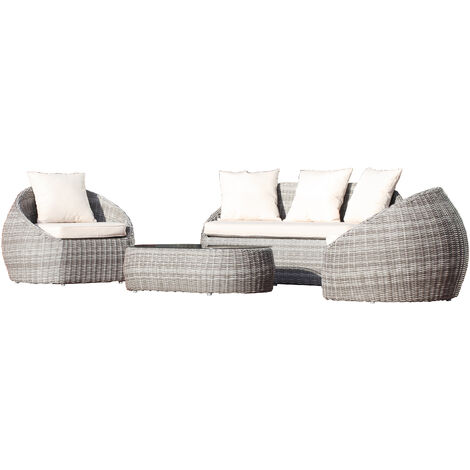 Salon ISA 5 places en resine tressee ronde luxe - GRIS