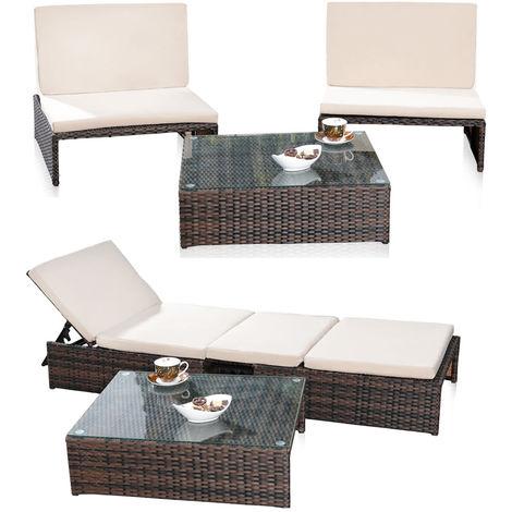 Salón jardín conjunto suite 2er sillón mesa tumbona polyrattan marrón