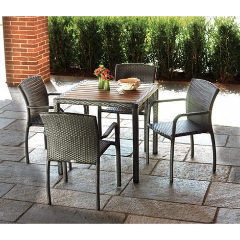 Salon jardin de table + 4 chaises avec accoudoirs