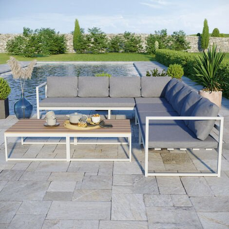 Salon modulable relevable de jardin en aluminium design convertible- Blanc Gris - TORINO