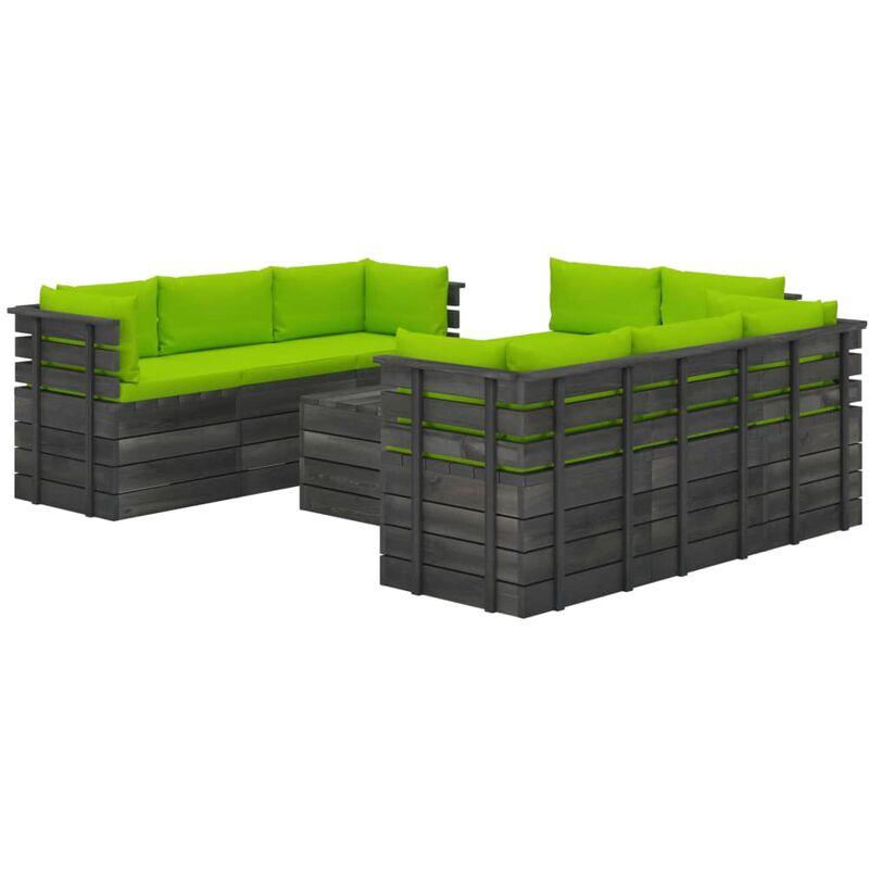 Vidaxl - Salon Palette de Jardin avec Coussins Bois de Pin Massif 9 pcs Modèle 24