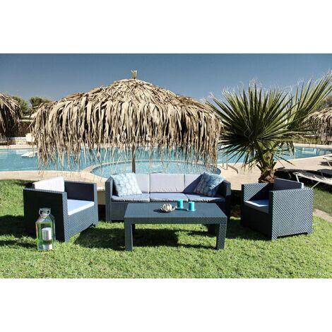 Salón para jardín con efecto de resina antracita Tropea (5 plazas)