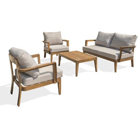 Salon PORTOFINO 4P en aluminium imitation bois - MARRON ...