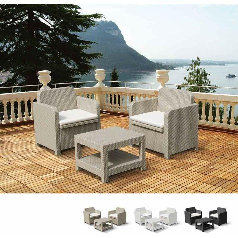 Salon de Jardin et Fauteuils pour extérieurs Giglio Bar Poly-Rotin 2 Places | Beige - Grand Soleil