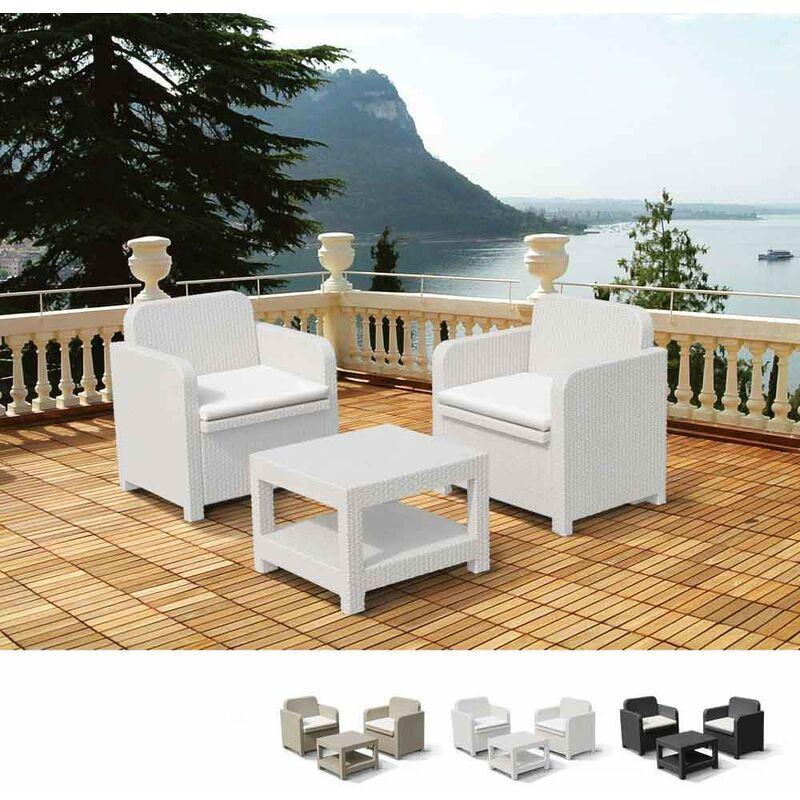 Salon de Jardin et Fauteuils pour extérieurs Giglio Bar Poly-Rotin 2 Places | Blanc - Grand Soleil
