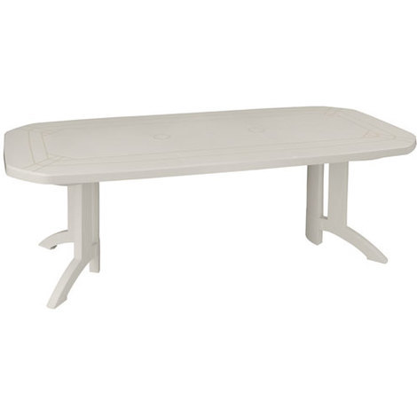 Salon résine blanche bg table vega 1 rallonge