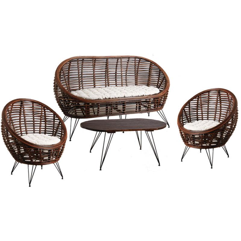 Salon rotin croco de 4 pièces avec coussins -PEGANE-