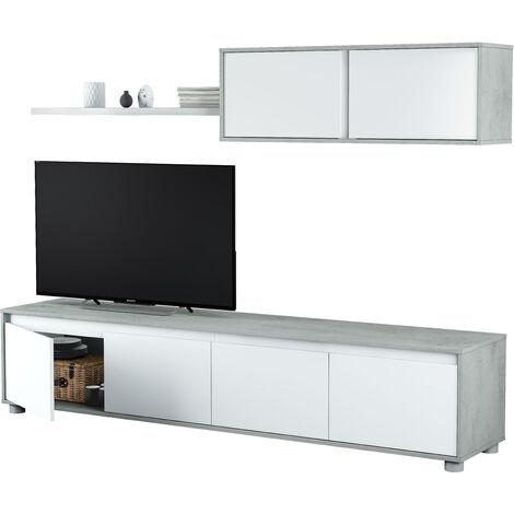 Salón TV Cemento y Blanco Artik 43x200x41 cm