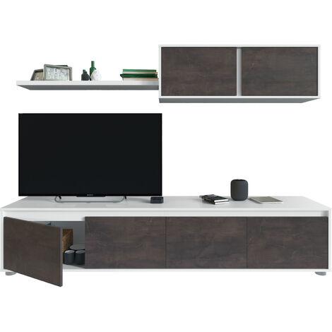 Salón TV Cemento y Blanco Artik y Óxido 43x200x41 cm